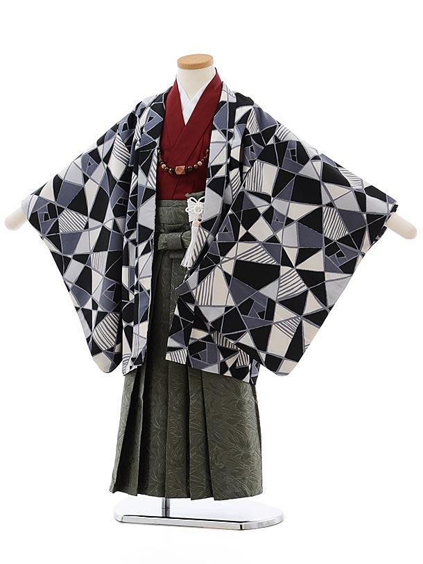 七五三レンタル(5歳男児袴)5486 ステンドグラス柄 黒系×カーキ地袴