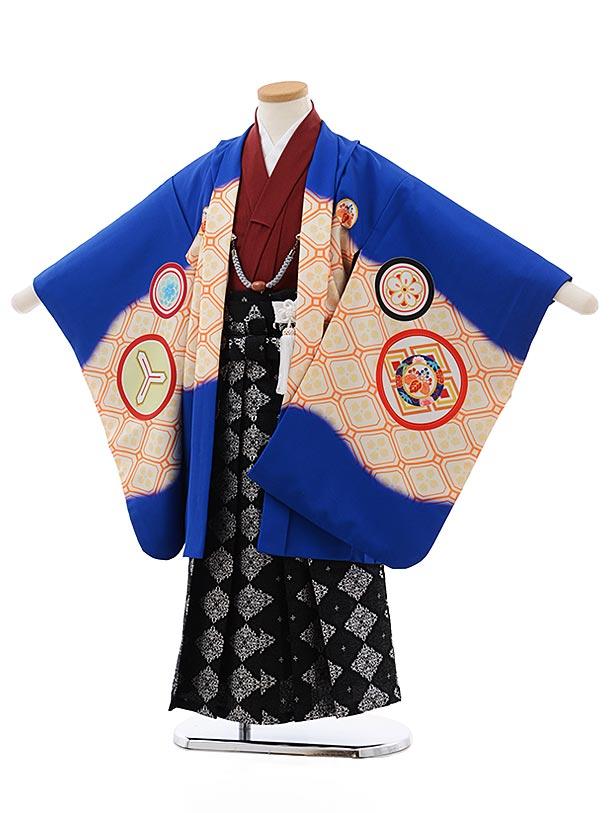 七五三レンタル(5歳男児袴)5490 川栄李奈 ブルー 丸紋×黒地袴