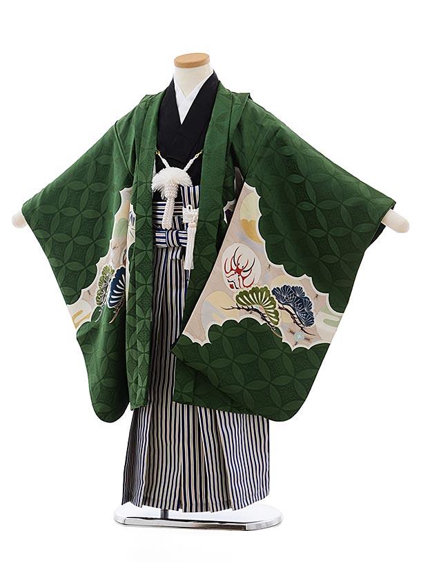 七五三(5歳男児袴)5492 (高級正絹) グリーン地松に隈取×紺縞袴