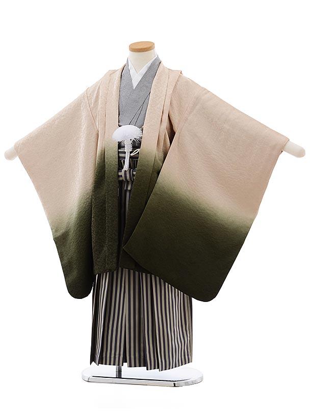 七五三(5歳男児袴)5493正絹(着物・袴)ベージュグリーンぼかし×紫縞袴