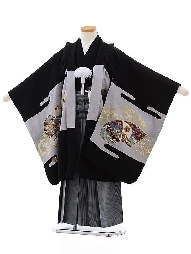 七五三(5歳男児袴)5494 (正絹) 黒地 小槌に鷹×グリーン縞袴