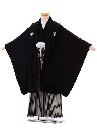 七五三(4.5歳男児袴)5495 (正絹) 黒 紋服×