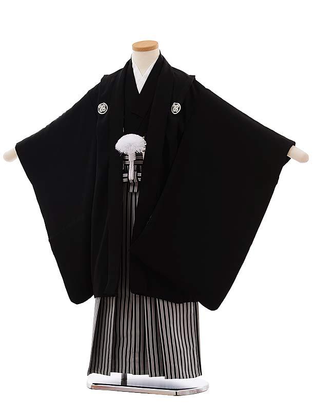 七五三(5.6歳男児袴)5496 (正絹) 黒 紋服×黒白縞袴