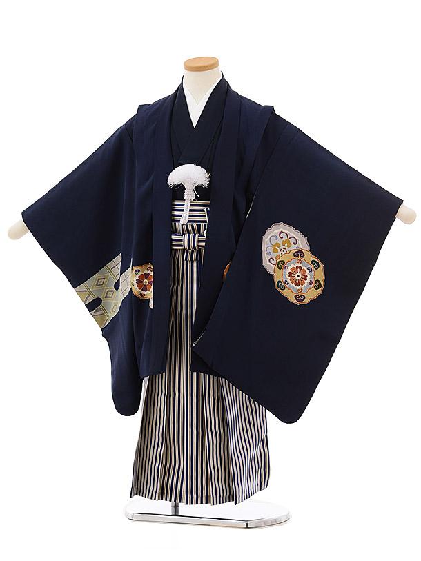 七五三レンタル(5歳男袴) 5499 (正絹)紺地かすみに花文x紺白縞