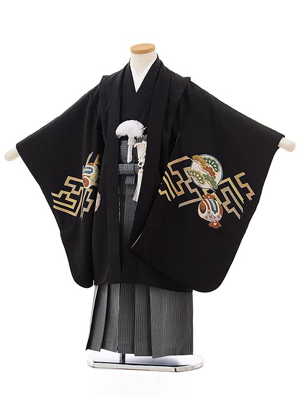 七五三レンタル(5歳男袴) 5501 (正絹) 黒地紗綾型に宝xグリーン縞袴