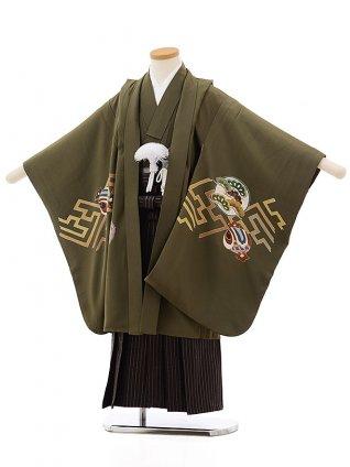 七五三レンタル(5歳男袴) 5502抹茶色紗綾型に宝(羽織 着物正絹)x茶色袴