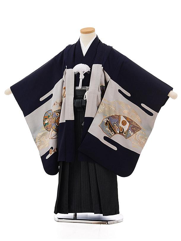 七五三レンタル(5歳男袴)5503紺地鷹に小槌(羽織着物正絹)x黒ストライプ袴