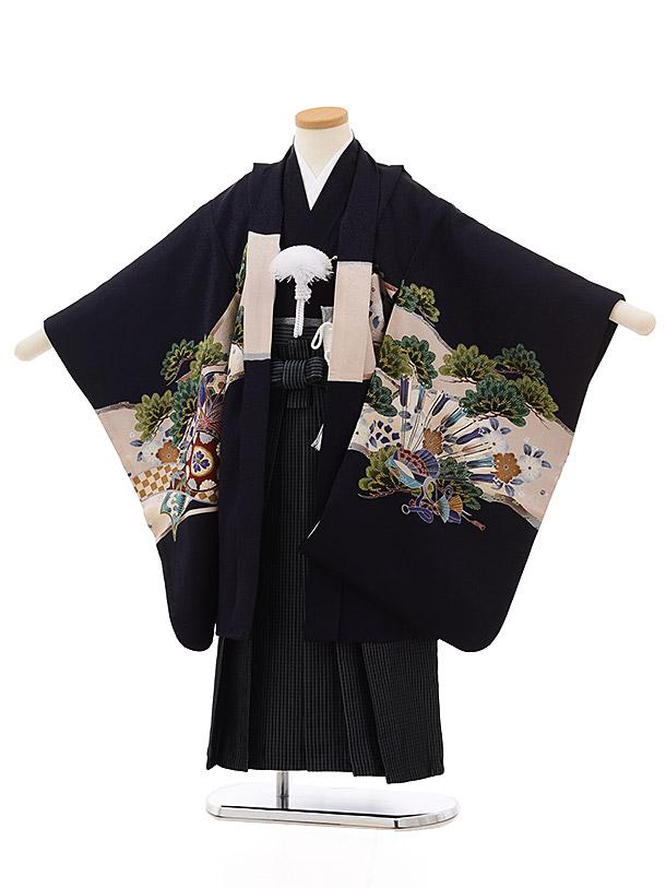 七五三レンタル(5歳男袴) 5504茄子紺松かぶと(羽織 着物正絹)x黒縞袴