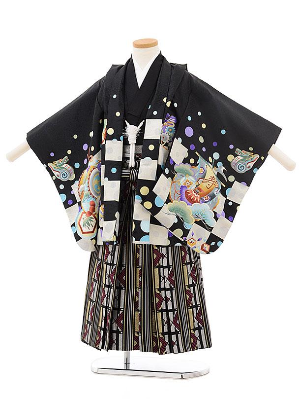 七五三(4.5歳男袴)5506 黒地 市松 かぶと×黒シルバー袴