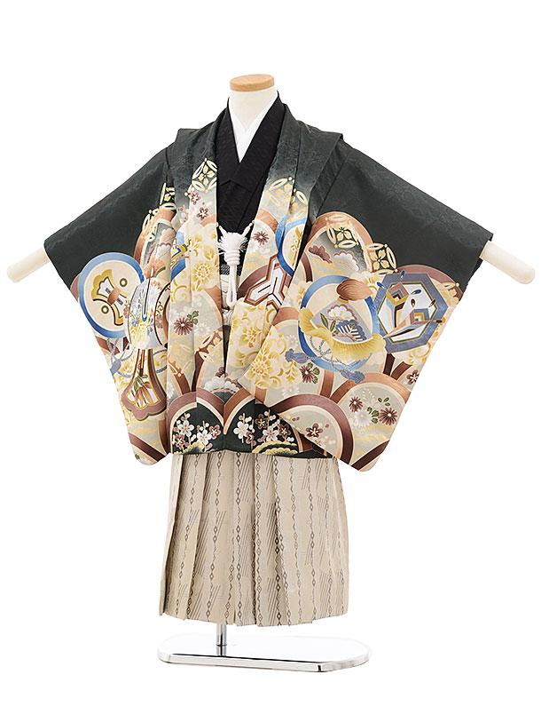 七五三(4.5歳男袴)5507 モスグリーン 丸紋 鷹×ベージュ袴