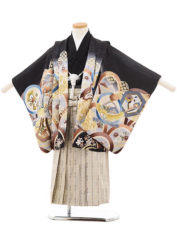 七五三(4.5歳男袴)5508 黒地 丸紋 鷹×ベージュ袴