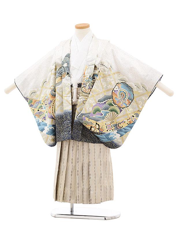 七五三(4.5歳男袴)5510 白地 鼓に鷹×ベージュ袴