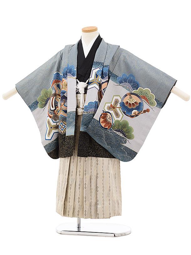 七五三(4.5歳男袴)5511 グレー地 裾黒 宝舟×ベージュ袴