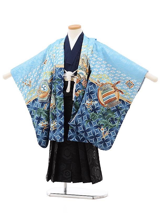 七五三(5歳男児袴)5513 水色 ぼかし かぶと×黒袴