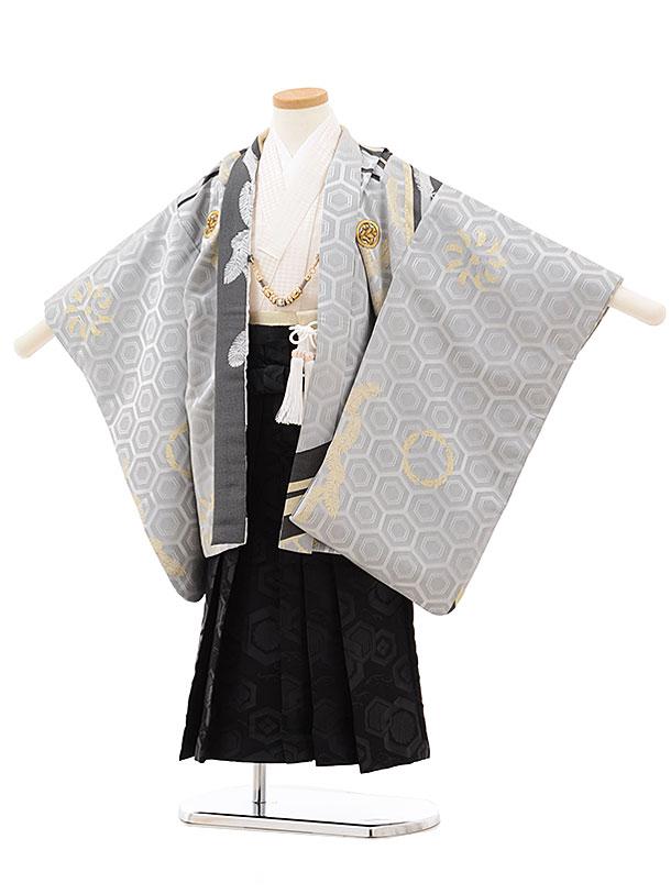 七五三(5歳男児袴)5514 グレー 亀甲 羽根×黒袴