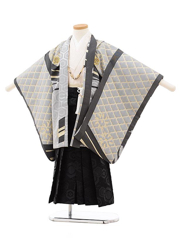 七五三(5歳男児袴)5515 グレー 菱×黒袴