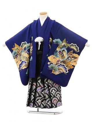 七五三レンタル(5歳男袴)5517ブルー鷹に矢(羽織着物正絹)×黒シルバー袴