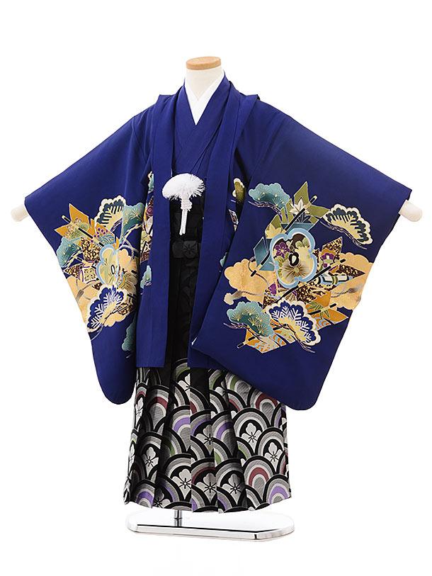 七五三(5歳男児袴)5517ブルー鷹に矢(羽織着物正絹)×黒シルバー袴