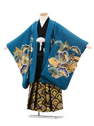 七五三レンタル(5歳男袴)5518エメラルドグリーン鷹(羽織着物正絹)×黒袴