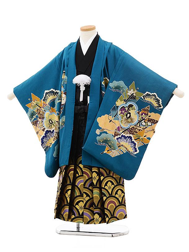 七五三(5歳男児袴)5518エメラルドグリーン鷹(羽織着物正絹)×黒袴