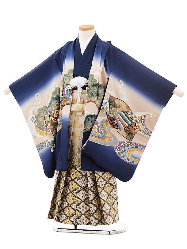 七五三(5歳男児袴)5519紺地鷹 かぶと(羽織着物正絹)×ベージュ袴