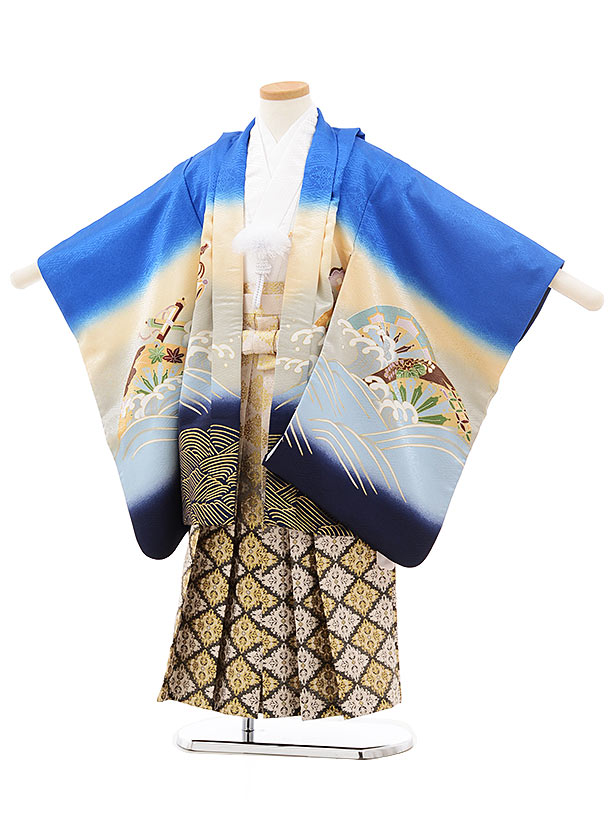 七五三(5歳男児袴)5520 ブルー ぼかし 宝舟×ベージュ黒袴