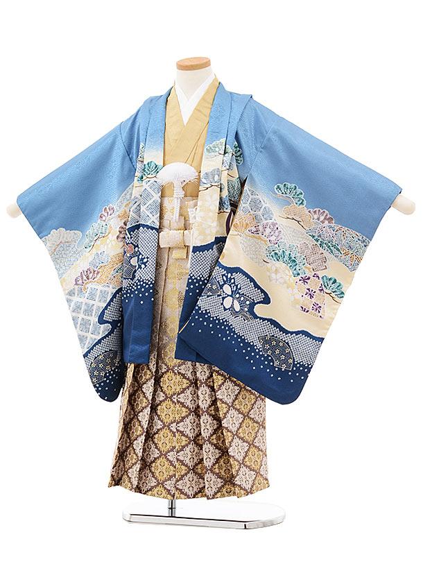 七五三(5歳男児袴)5521 ブルーグレー 松 かぶと×ベージュ袴