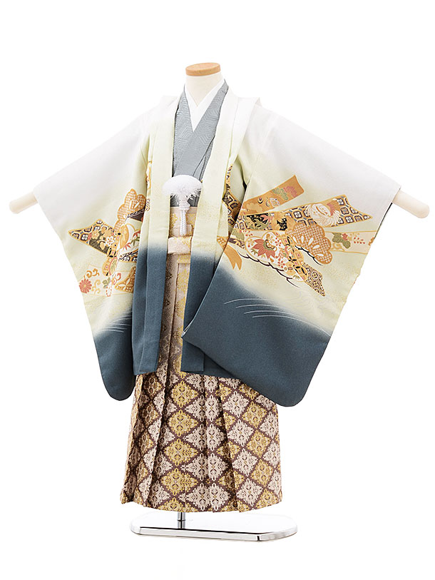 七五三(5歳男児袴)5522 白 ぼかし熨斗に兜×ベージュ袴