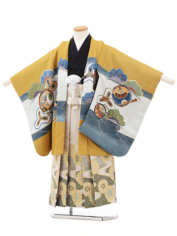 七五三(5歳男児袴)5523 からし色 宝舟×白グリーン袴