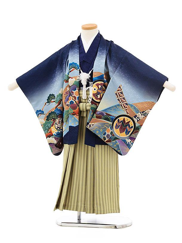 七五三(4.5歳男袴)5524 紺ぼかし龍 兜×ストライプ袴