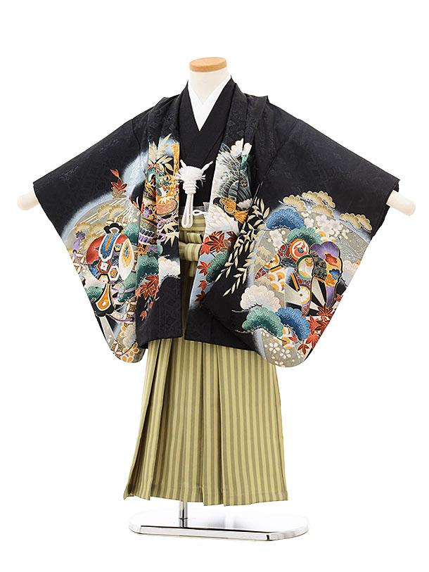 七五三(4.5歳男袴)5525 黒地 松 兜×ストライプ袴