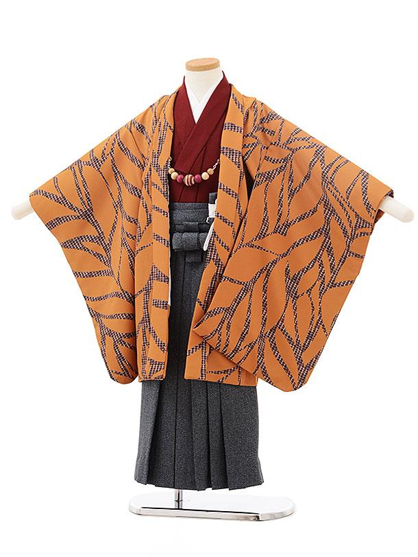 七五三(5歳男児袴)5528ラフィネココキャメル地リーフ×紺デニム風袴