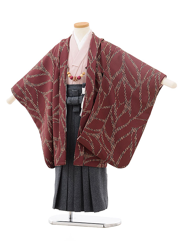 七五三レンタル(5歳男児袴)5529ラフィネココ赤紫色リーフ×紺デニム風袴