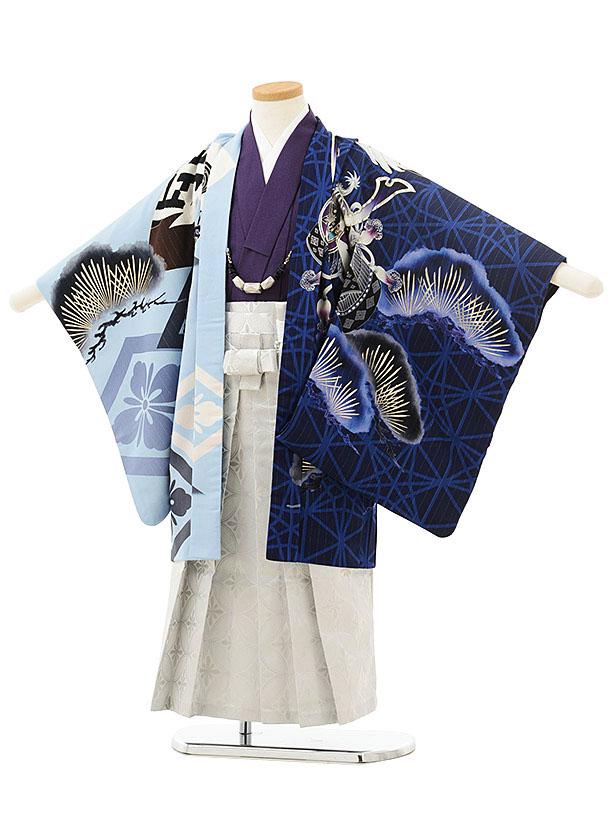 七五三(5歳男児袴)5531JAPANSTYLE絵羽ブルー水色鷹に松