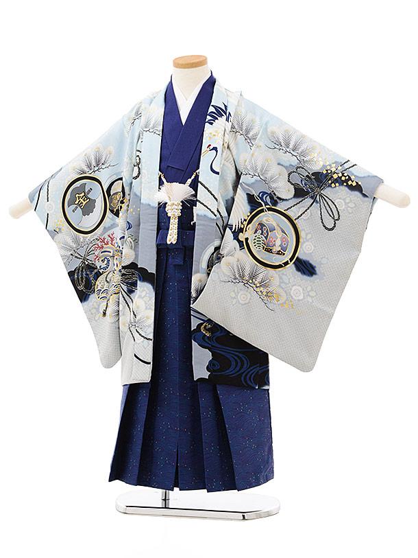 七五三レンタル(5歳男児袴)5533乙葉絵羽かぶとに鶴水色