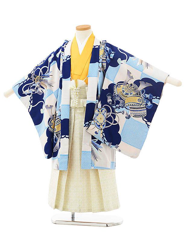 かんたん七五三レンタル(5歳男児袴)5536ぷちぷり白水色市松かぶと