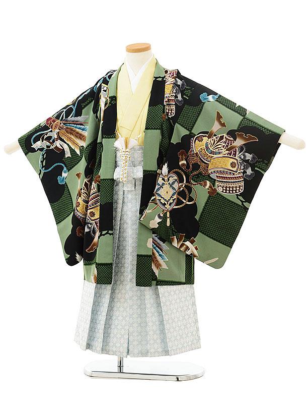 七五三(5歳男児袴)5538ぷちぷりグリーン黒市松かぶと