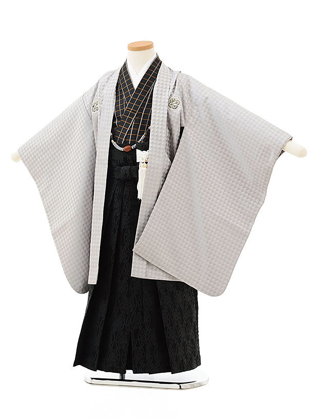 七五三レンタル(5歳男児袴)5539花わらべうすグレー紋付×黒袴