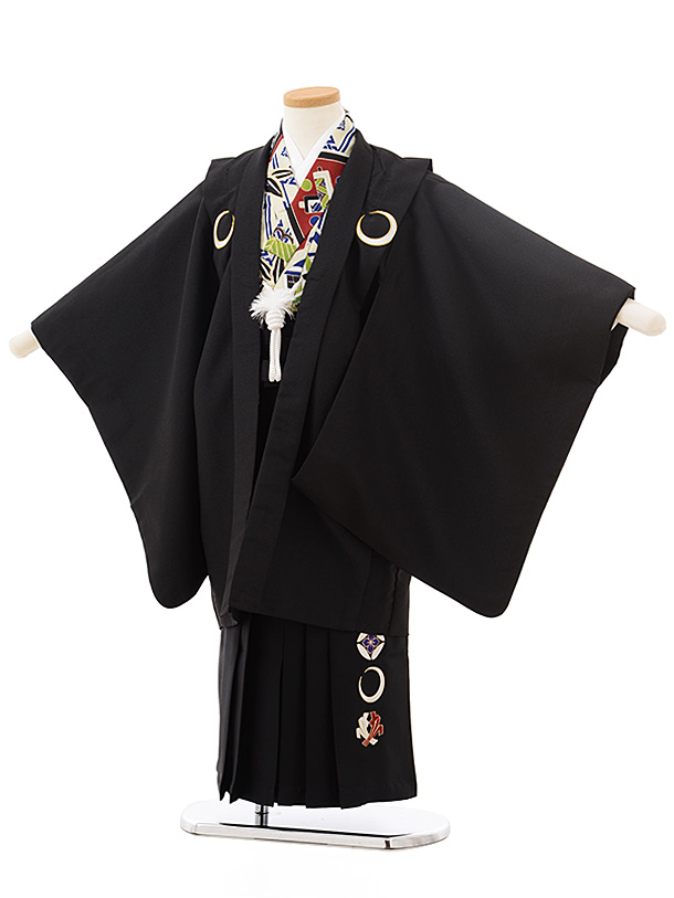 七五三レンタル(5歳男児袴)5541黒しゃれ紋×黒袴