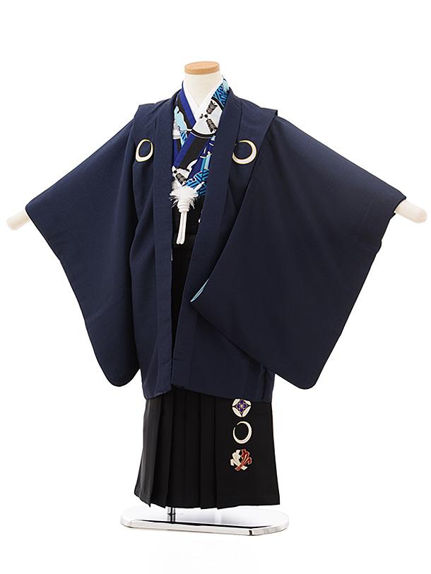 七五三レンタル(5歳男児袴)5542紺しゃれ紋×黒袴