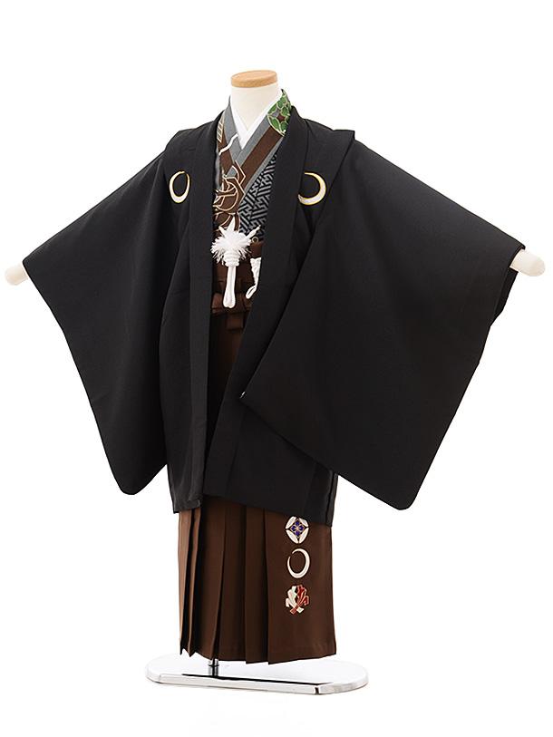 七五三レンタル(5歳男児袴)5543黒しゃれ紋×茶色袴