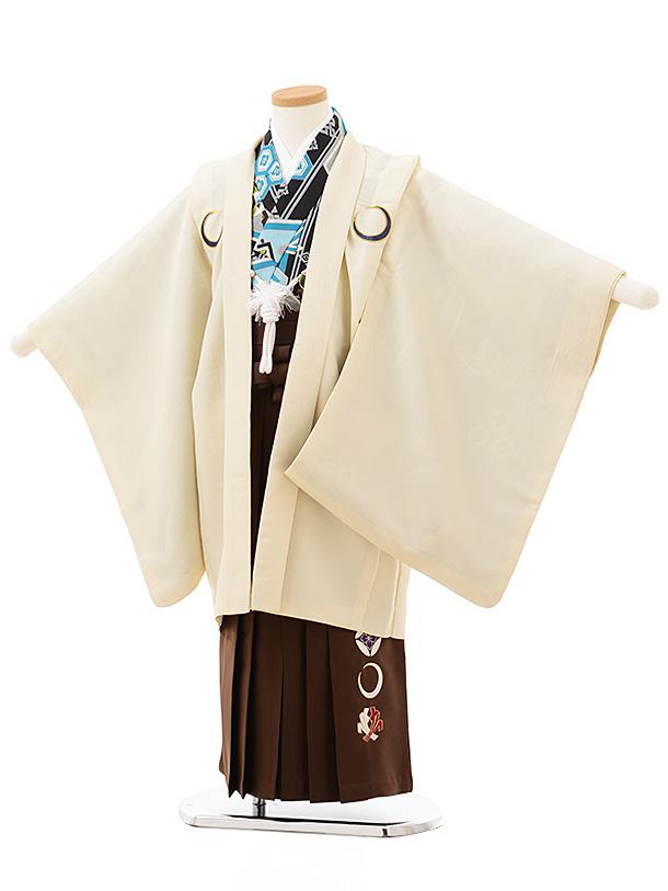 七五三レンタル(5歳男児袴)5544クリームしゃれ紋×茶色袴