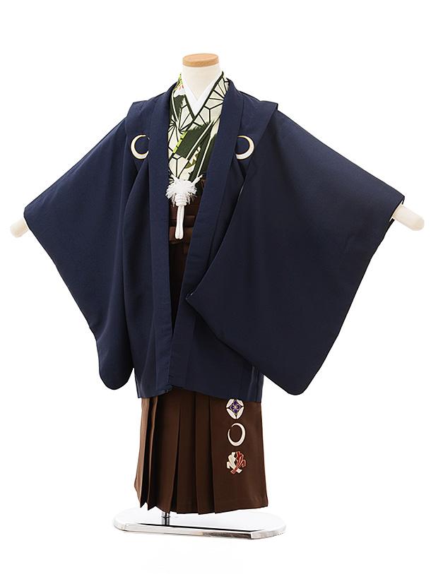 七五三レンタル(5歳男児袴)5545紺しゃれ紋×茶色袴