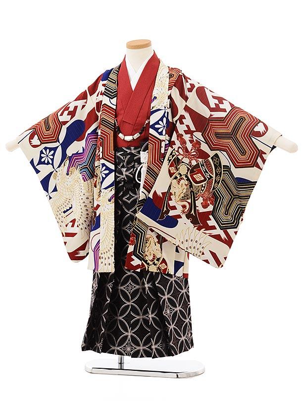 七五三レンタル(5歳男児袴)5547JAPANSTYLE鷹に毘沙門亀甲赤