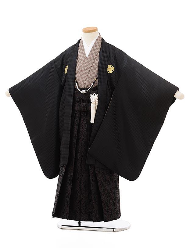 七五三(5歳男児袴)5548花わらべ黒紋付×黒茶袴