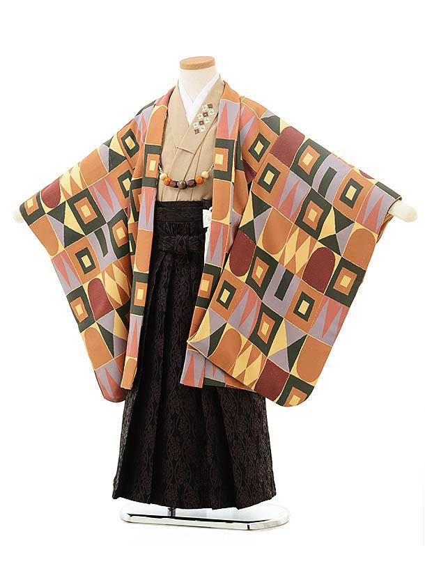 七五三(5歳男児袴)5549花わらべオレンジベージュ変わり柄×黒茶袴