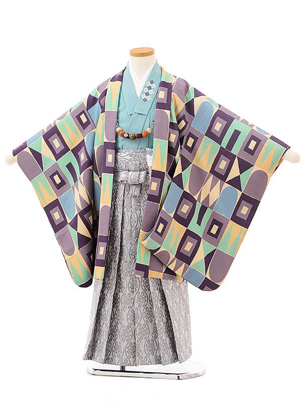七五三レンタル(5歳男児袴)5550花わらべパープルミント変わり柄×グレー袴