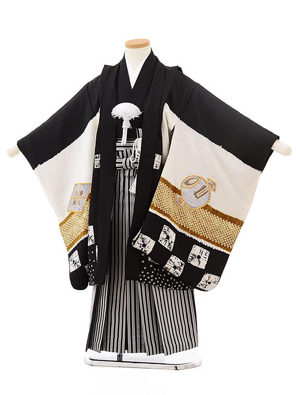 七五三レンタル(5歳男児袴)5554(正絹)黒地 絞り 刺繍かぶと×黒縞袴