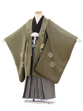 七五三レンタル(5歳男児袴)5555(正絹)モスグリーン雪輪×黒縞袴