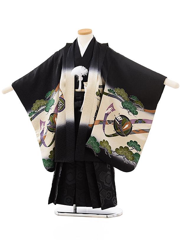 七五三レンタル(5歳男児袴)5558(正絹)黒地熨斗宝舟鷹×黒袴